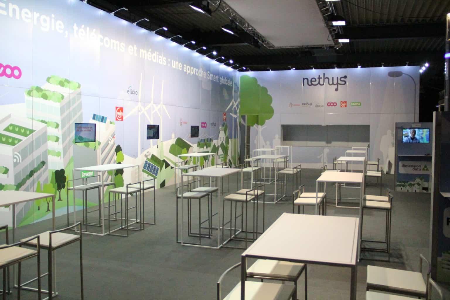 Conception et organisation du stand Nethys pour le Salon des Mandataires, conception du stand par SO Event.